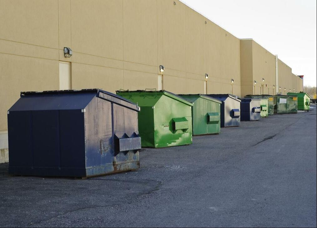 containers lined up outside a building